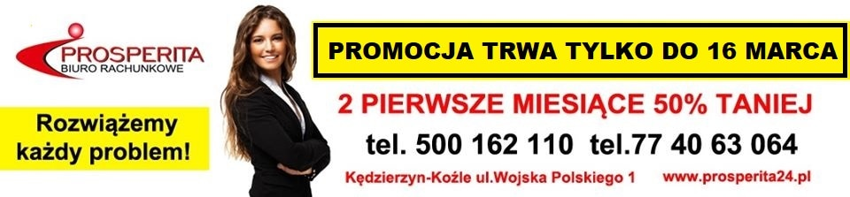 Koniec zimowej promocji - 16 marca. 50% rabatu na usługi biura przez pierwsze 2 miesiące
